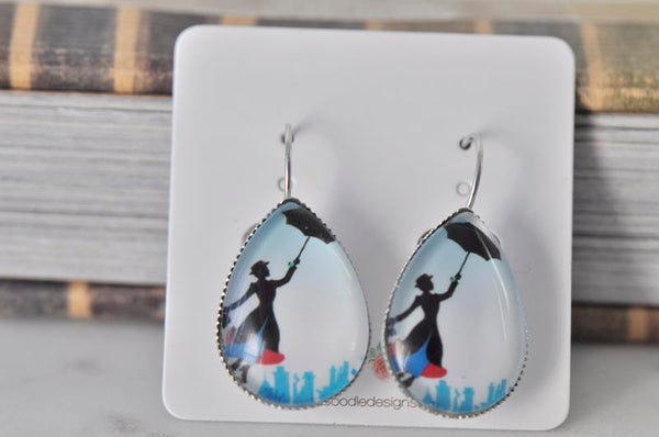 Handmade Teardrop Clip Dangle Drop Earrings - Mary Poppins