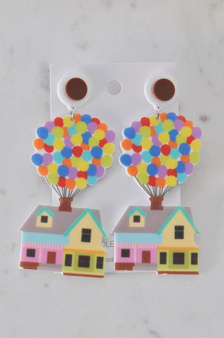A Acrylic Perspex Up Movie Balloon House Drop Dangle Earrings
