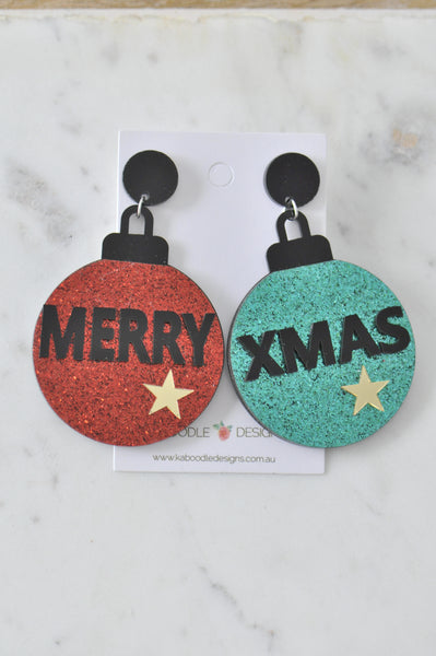 Acrylic Christmas Merry Christmas Xmas Balls Drop Dangle Earrings