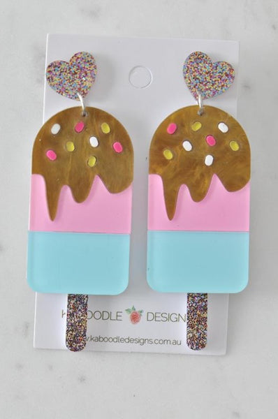 Acrylic Laser Cut Popsicle Chocolate Strawberry Sprinkles Ice Cream Drop Dangle Earrings