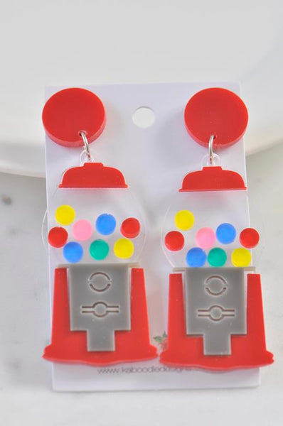 Acrylic Candy Gumball Machine Drop Dangle Earrings