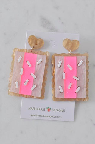 A Acrylic Perspex Craved Iced Vovo Dangle Earrings