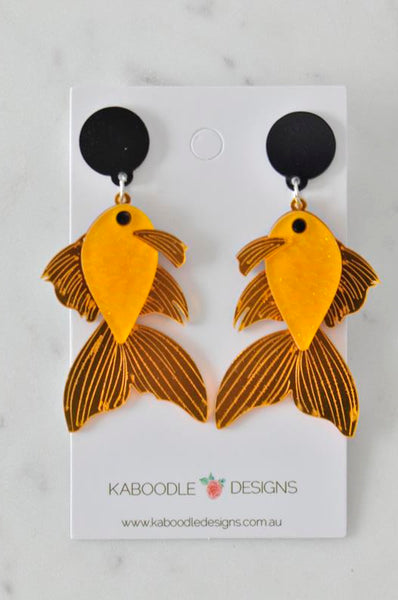 A Acrylic Koi Fish Goldfish Gold Fish Drop Dangle Earrings