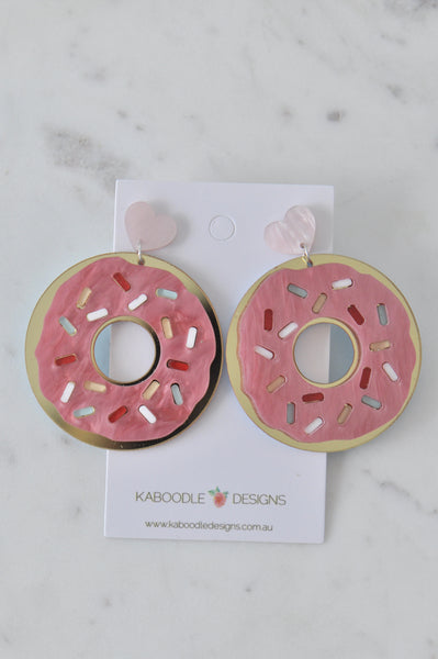 Acrylic Perspex Pearl Like Donut Doughnut Pink Sprinkles Drop Dangle Earrings