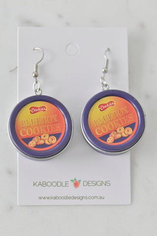 A Novelty Dutch Biscuit Cookies Tin Drop Dangle Earrings
