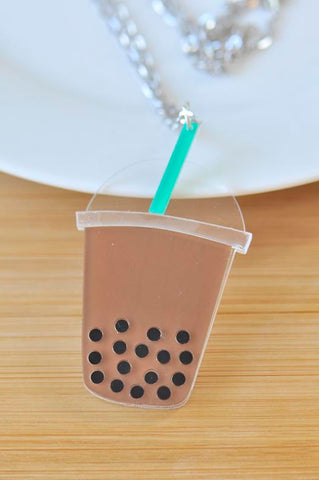 Acrylic Perspex Boba Pearl Bubble Milk Tea Necklace