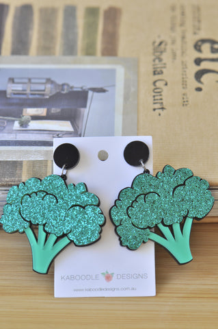 A Acrylic Broccoli Vegetable Drop Dangle Earrings