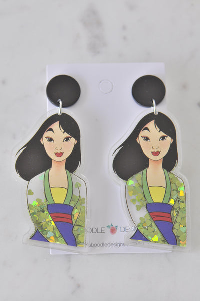 Acrylic Novelty Heart Glitter Sparkles Princess Mulan Dangle Drop Earrings