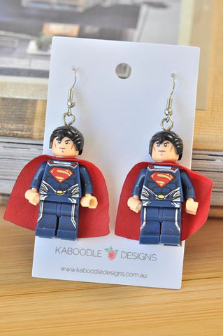 A Superman Superhero Inspired Drop Dangle Earrings