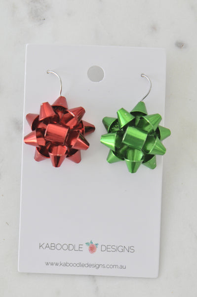 Christmas Present Gift Ribbon Novelty Fun Drop Dangle Earrings