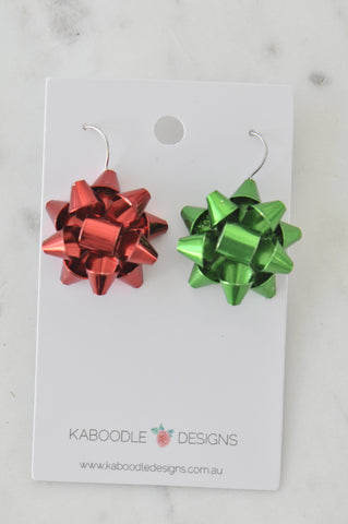 A Christmas Present Gift Ribbon Novelty Fun Drop Dangle Earrings