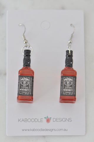 A A Jack Daniel's Whiskey Inspired Alcohol Spirits Novelty Fun Drop Dangle Earrings