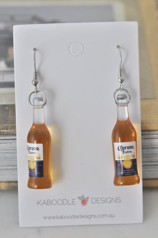 A Corona Extra Beer Botttle Novelty Fun Drop Dangle Earrings