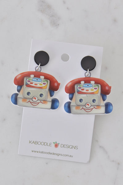 Acrylic Resin Retro Childhood Classic Chatter Telephone Drop Dangle Earrings