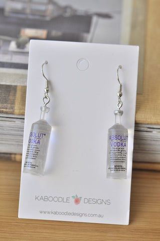Absolute Vodka Inspired Alcohol Spirits Novelty Fun Drop Dangle Earrings