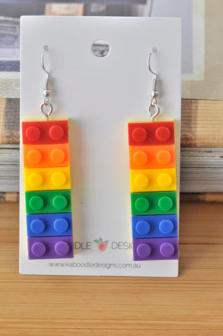 Colourful Rainbow Love is Love Brick Novelty Fun Drop Dangle Earrings