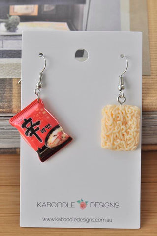 Korean Instant Noodles Shin Ramyun Ramen Novelty Fun Drop Dangle Earrings