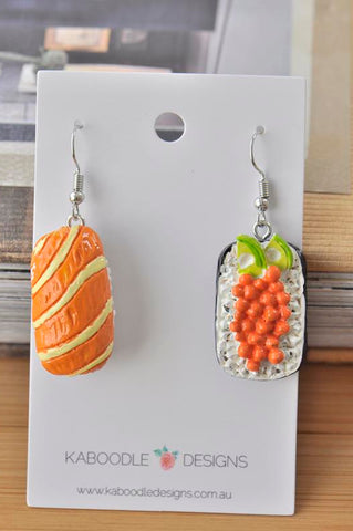 Japanese Sushi Sashimi Novelty Fun Drop Dangle Earrings