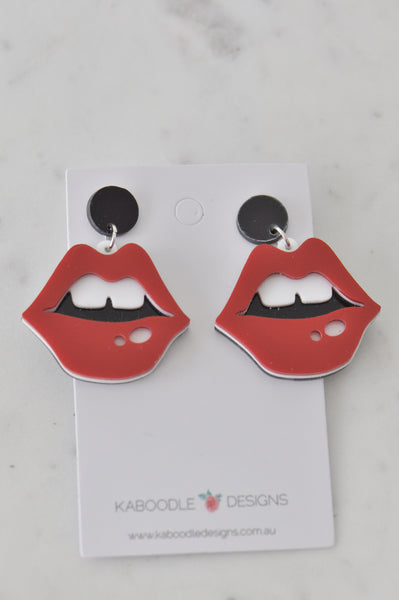 Acrylic Perspex Red Lip Drop Dangle Earrings