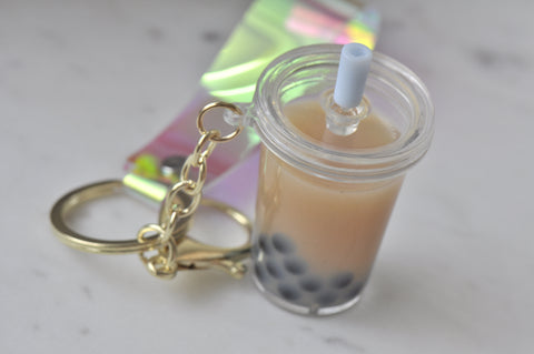 A Bubble Tea Pearl Milk Tea Boba Novelty Fun Liquid Keychain Keyring