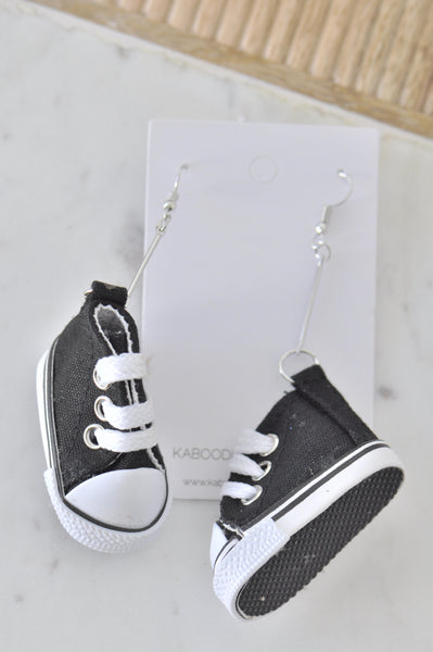 Novelty Fun Chucks Sneakers Runners Shoes Drop Dangle Earrings - Black