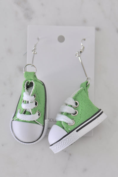 Novelty Fun Chucks Sneakers Runners Shoes Drop Dangle Earrings - Green