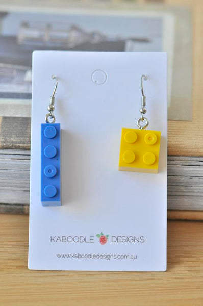 Brick Dangle Drop Earrings - Yellow and Blue