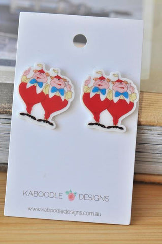 Acrylic Alice In Wonderland Tweedledee and Tweedledum Stud Earrings