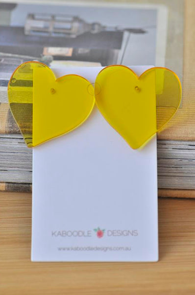 Acrylic Yellow Transparent Heart Valentines Day I Love You Stud Earrings