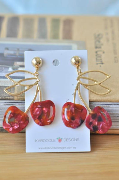 Acrylic Perspex Cherry Fruit Drop Earrings