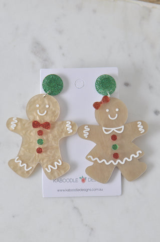 A A Acrylic Christmas Gingerbread Man and Woman Cookie Drop Dangle Earrings