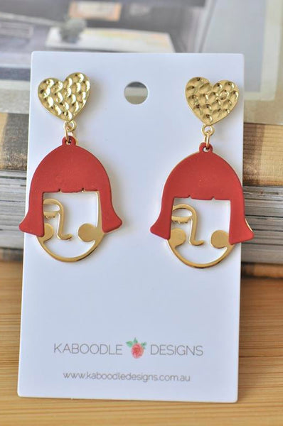Red Hair Girl Face Cutout Novelty Fun Drop Dangle Earrings