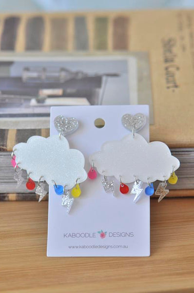 Acrylic Perspex Rainbow Rain and Lightning Cloud Dangle Earrings
