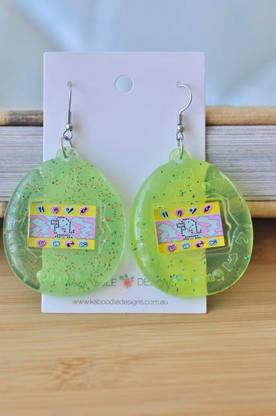 Acrylic Perspex Nostalgic Retro Tamagotchi Drop Earrings - Green