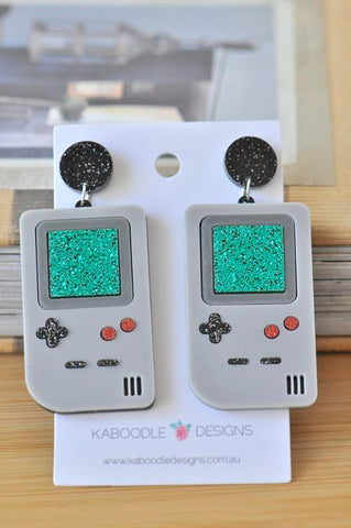A Acrylic Perspex Laser Cut Retro Gameboy Drop Earrings