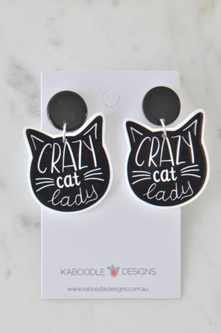 A Acrylic Crazy Cat Lady Black Cat Drop Earrings