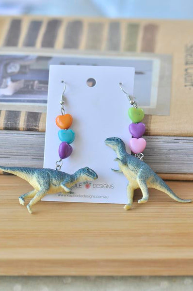 A Novelty Dinosaur Hearts Dangle Drop Earrings T-Rex