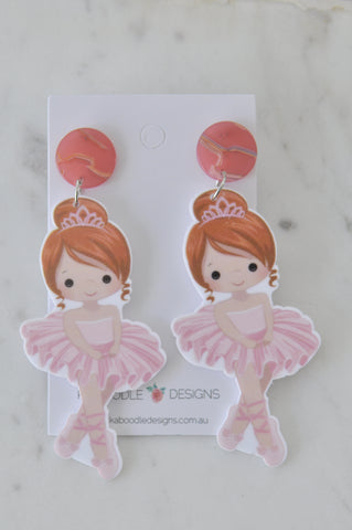 A Acrylic Ballerina Ballet Dancer Drop Earrings