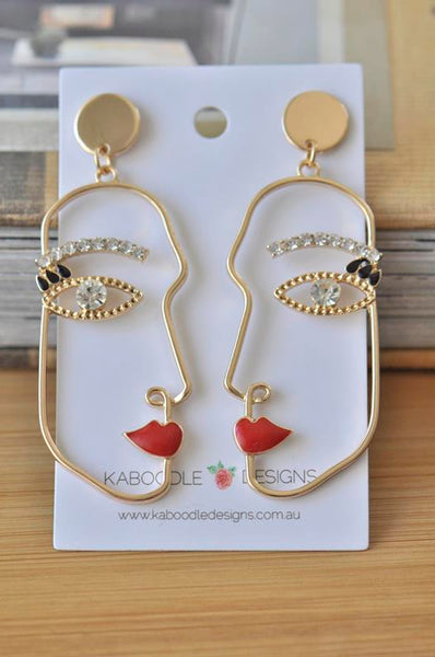 Red Lip Rhinestone Face Cutout Woman Girl Novelty Fun Drop  Stud Earrings