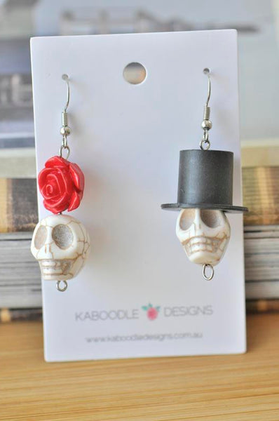 His and Hers Skull Gothic Dangle Drop Earrings