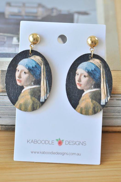 Artist Van Gogh Girl with The Pearl Earrings Painting Drop Dangle Earrings
