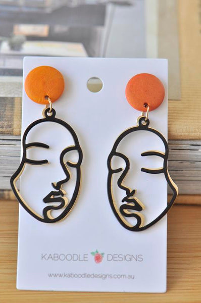 Face Cutout Woman Girl Novelty Fun Drop  Stud Earrings