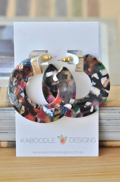 Acrylic Perspex Circle Round Hoop Earrings - Mixed Colour