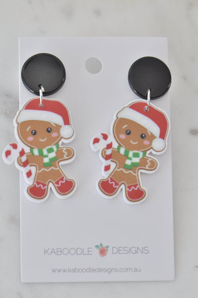 Acrylic Christmas Santa Hat Gingerbread Man Cookie Candy Cane Drop Dangle Earrings
