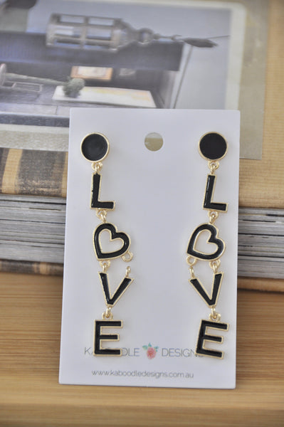 Enamel Valentine Love Cutout Words Letters Drop Earrings