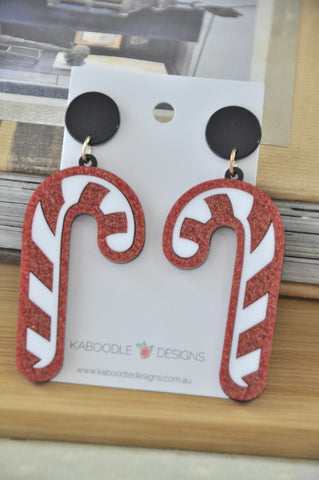 A Acrylic Perspex Christmas Candy Cane Drop Earrings