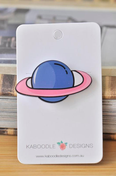 Acrylic Planet Universe Saturn Pin Brooch