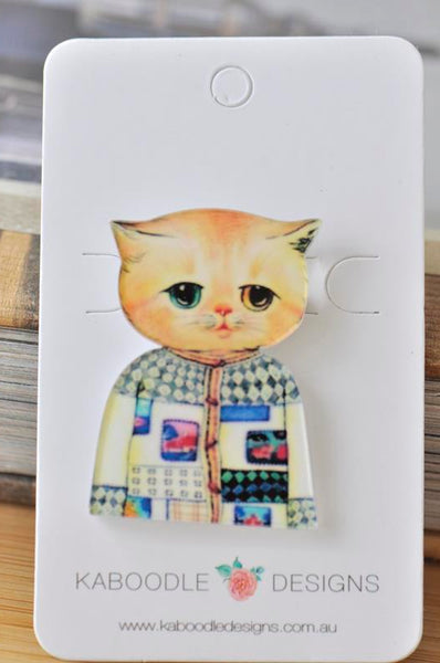 Acrylic  Ginger Cat Pin Brooch