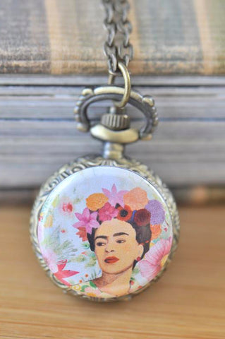 Handmade Artwork Stainless Steel Pocket Watch Necklace - Frida Kahlo Boho