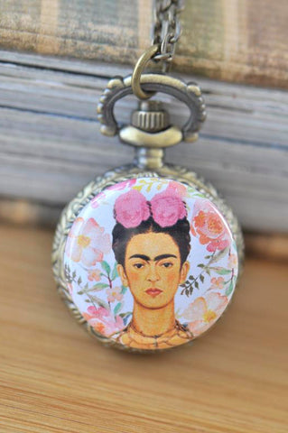 Handmade Artwork Stainless Steel Pocket Watch Necklace - Frida Kahlo Watercolour